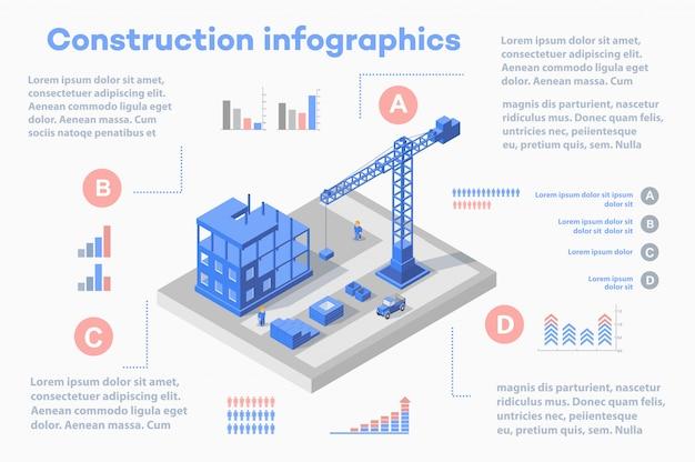 Satz von infografiken bau, bau