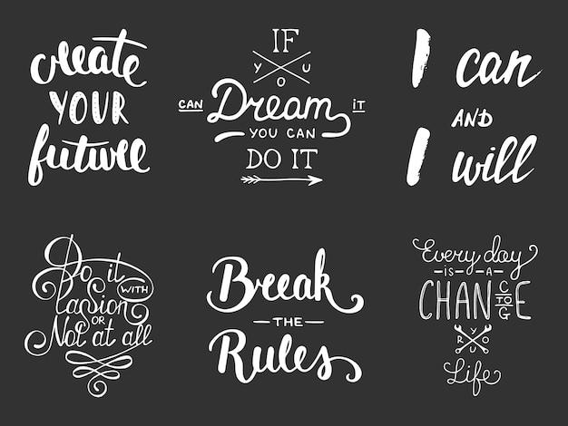 Satz von inspirierenden und motivierenden schriftzügen
