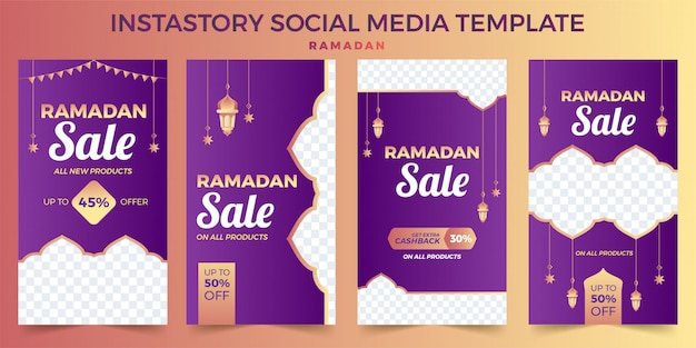Satz von instagram geschichten ramadan kareem, instagram vorlage foto, bannerwerbung werbung