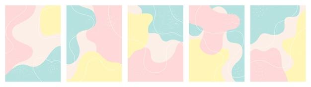 Satz von instagram-geschichtenhintergrund mit abstrakten formen
