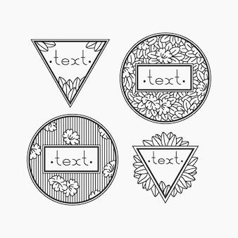 Satz von isolierten blumenrahmen. deco mono line hipster dekorationen. kräuter-bio-embleme für die verpackung.