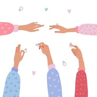 Satz von isolierten eleganten weiblichen händen, die diamantringe halten und zeigen