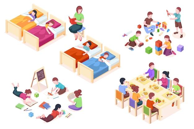 Satz von isolierten illustrationen von kindern im kindergarten der kinder beim schlafen kind am esstisch