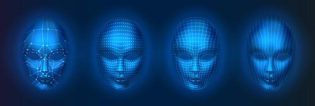Satz von isolierten menschlichen oder roboter, künstliche intelligenzgesichter mit punkten und linien. gesichts-scan mit ki, kopfverifikationstechnologie, erkennungskonzept.