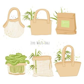 Satz von isolierten öko-taschen in der hand zeichnen cartoon-stil mit bambusdekorationen. ökologie umwelt einkaufstüte sammlung, null abfallbeutel und stop plastikverschmutzung konzept.
