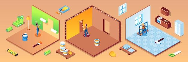 Satz von isolierten räumen der wohnung mit arbeitern während reparaturwerkstatt zu hause oder hausrenovierung