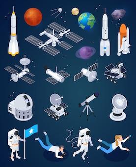 Satz von isolierten raumforschungsikonen mit künstlichen satelliten der realistischen raketen und planeten mit vektorillustration der menschlichen zeichen