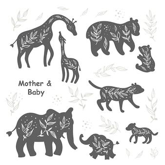 Satz von isolierten schwarzen und weißen silhouetten von tieren
