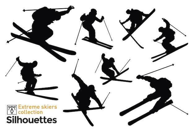 Satz von isolierten silhouetten von skifahrern.