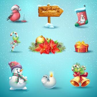 Satz von isolierten vektorikonen für weihnachten und neujahr Premium Vektoren