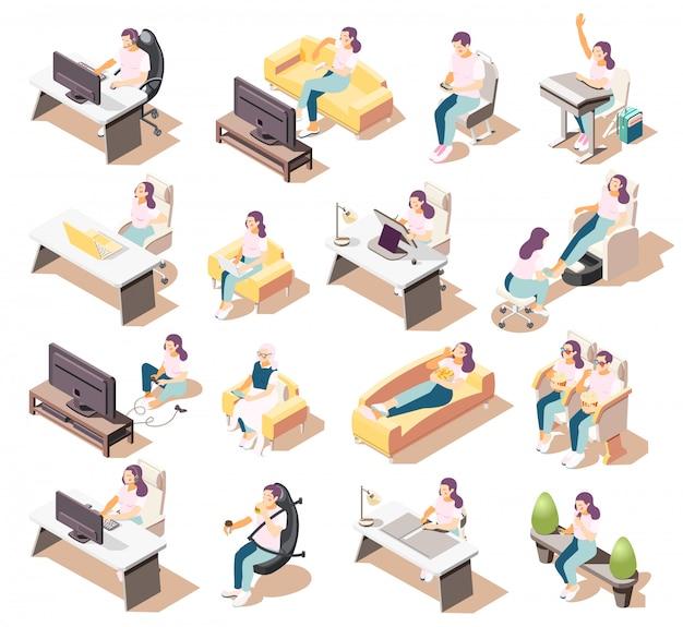 Satz von isometrischen symbolen des isolierten sitzenden lebensstils von leuten, die in verschiedenen umgebungen mit möbelstücken sitzen