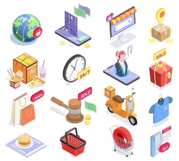 Satz von isometrischen symbolen und konzeptuellen bildern des isolierten einkaufs-e-commerce mit piktogrammen und verkaufssymbolvektorillustration