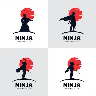 Satz von japan ninja schwert logo