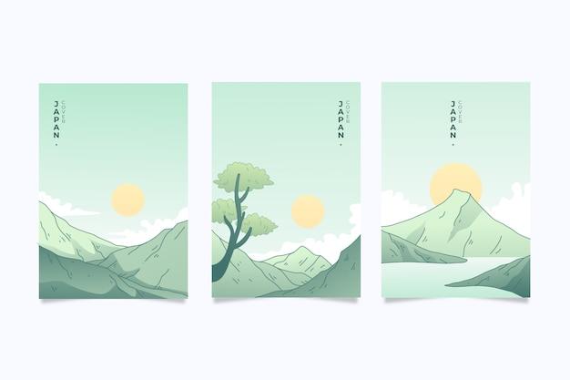 Satz von japanisch deckt minimalistisches design