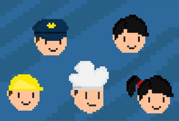 Satz von job-kopfsymbolen mit pixel-art-stil
