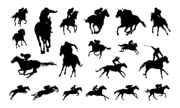 Satz von jockey illustration silhouette