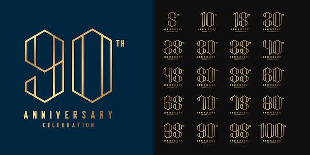 Satz von jubiläumslogo. goldenes jubiläum feier emblem design.