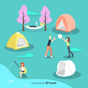 Satz von jugendlichen camping