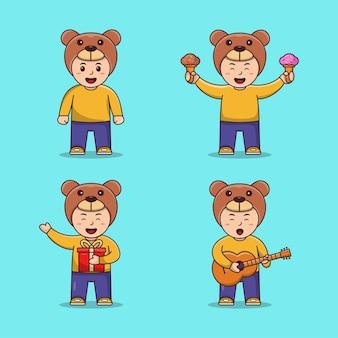 Satz von jungen-cartoon-charakter spaß und süß, kinder kawaii cartoon niedlichen charakter