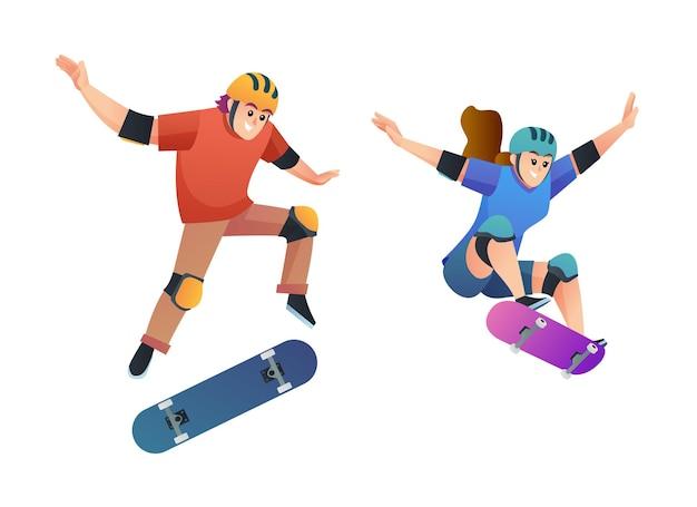 Satz von jungen und mädchen, die in springpose-illustration skaten