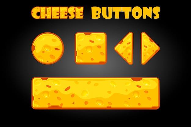 Satz von käsetasten für die benutzeroberfläche. illustration cartoon buttons für spiele.