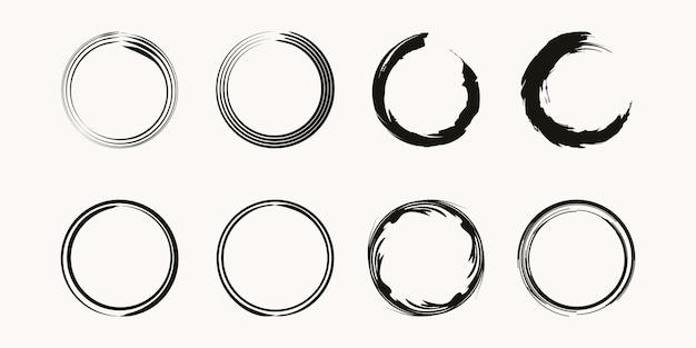 Satz von kaffeefleck-ring-vektor-form - kreisstempel - runder pinselstrich - symbol, logo-design.