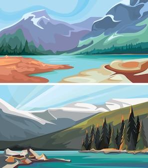 Satz von kanadischen landschaften. türkisfarbene seen in den bergen.