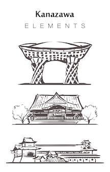 Satz von kanazawa-gebäuden isoliert auf weiß
