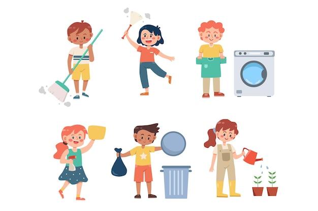 Satz von kindern, die hausarbeiten erledigen
