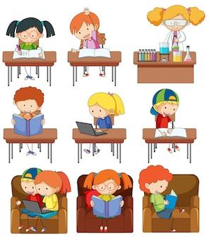 Satz von kindern zu studieren