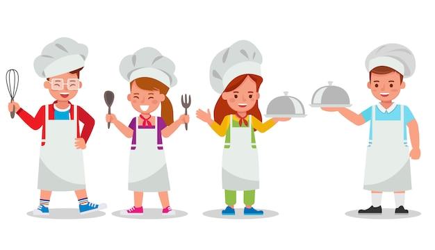 Satz von kinderzeichen. kinderkoch bereitet essen zu.