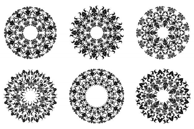 Satz von klassischen flourish ornament frame vintage border art dekorativ