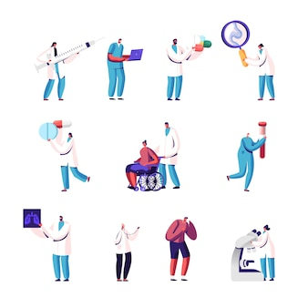 Satz von kleinen ärzten und patientencharakteren mit riesigen pillen, lupe und mikroskop, lungenröntgen.