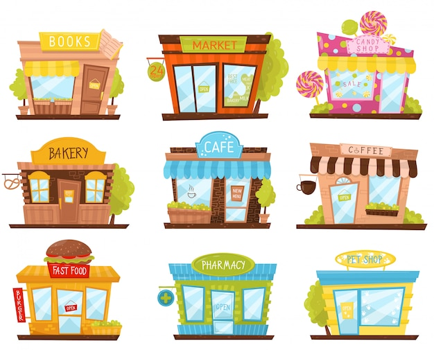 Satz von kleinen stadtgeschäften im cartoon-stil. süßwarenladen, apotheke, fast-food-restaurant, café. fassaden von stadtgebäuden