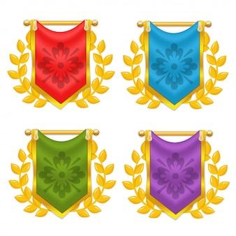 Satz von knight flag mit lorbeer und symbol