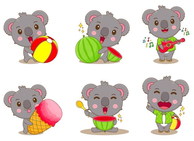 Satz von koala-sommer-konzept-cartoon-illustration
