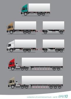 Satz von kommerziellen lastkraftwagen