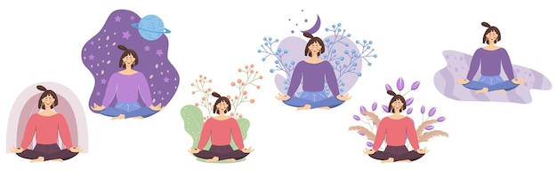 Satz von konzepten mit meditierenden mädchen im lotussitz eine frau entspannt sich und wird gesund