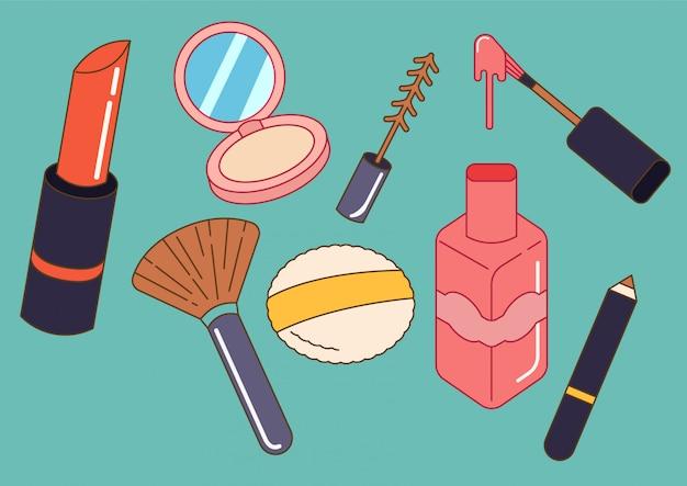 Satz von kosmetik in doodle-stil