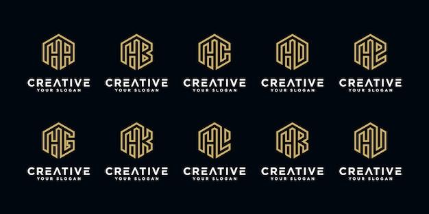 Satz von kreativen. buchstabe h und usw. mit abstrakter monogramm-logo-entwurfsschablone im sechseckstil.