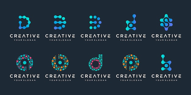 Satz von kreativen buchstaben d und b logo mit punktstil. universelles buntes biotechnologie-molekülatom-dna-chip-symbol. dieses logo ist geeignet für forschung, wissenschaft, medizin, logo, technologie, labor,