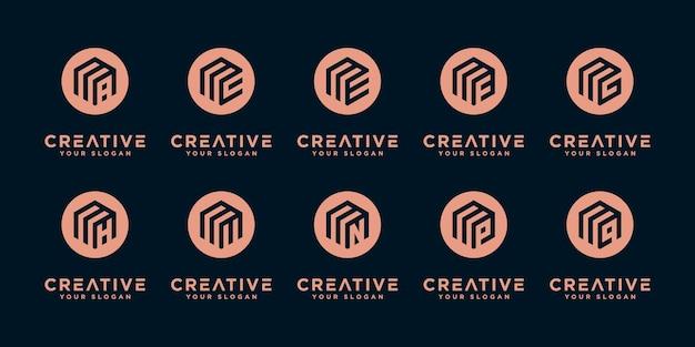 Satz von kreativen buchstabenzeichen-monogramm-buchstaben m und usw. logo-vorlage.