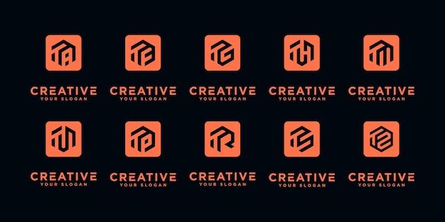 Satz von kreativen buchstabenzeichen-monogrammbuchstaben t und usw. logo-vorlage.