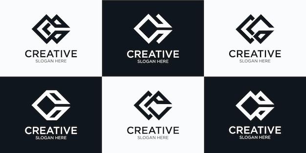 Satz von kreativen sammlungsinitialen buchstaben monogramm c logo-design-vorlage