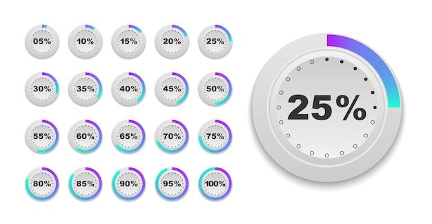 Satz von kreis-prozent-diagrammen gebrauchsfertig für die benutzeroberfläche des webdesigns