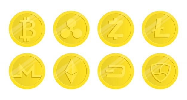 Satz von kryptowährung. beliebte kryptowährungen.