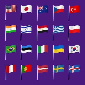 Satz von länderflaggen
