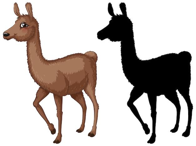 Satz von lama-zeichentrickfigur und