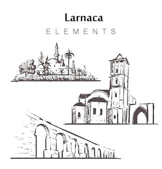 Satz von larnaca-gebäuden isoliert auf weiß