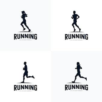 Satz von lauf-silhouette-logo-design